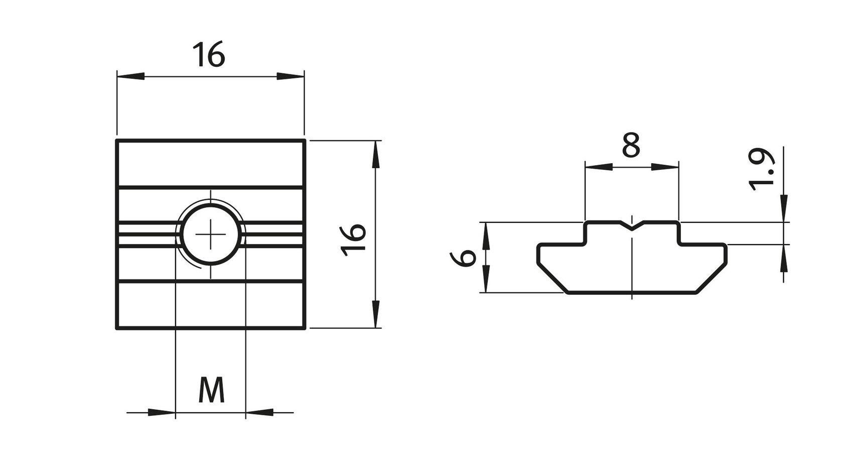Nutenstein mit Steg schwer I-Typ Nut 8 M4