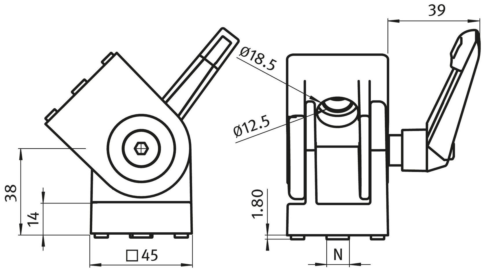 Swivel Angle 45 B-type nut 10